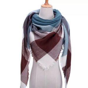 Accessories - NEW Fringe Blanket Scarf Shawl in Teal&Brown Plaid